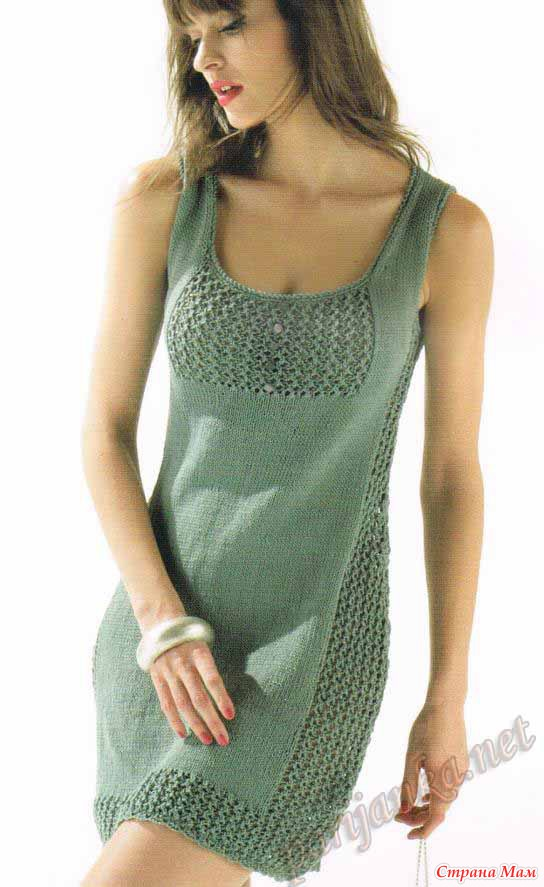 Легкое летнее платье спицами