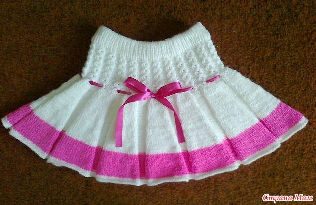 Связать юбку в складку спицами девочке