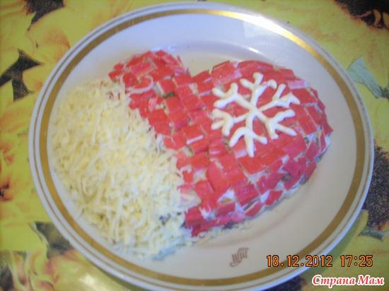 Новогодний салат варежка фото
