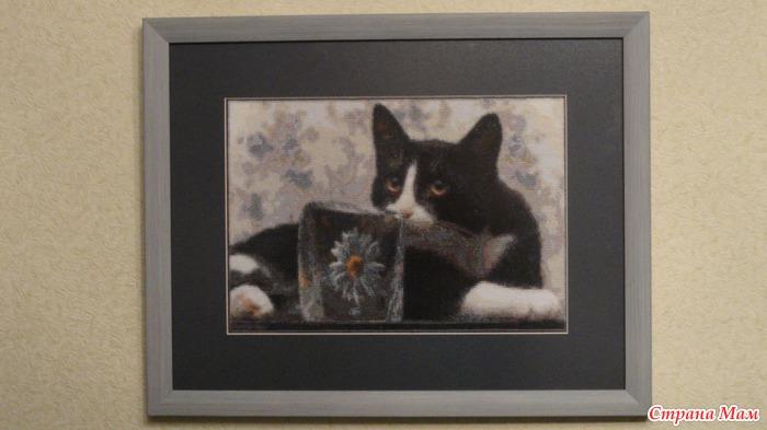 Черно-белый кот вышивка