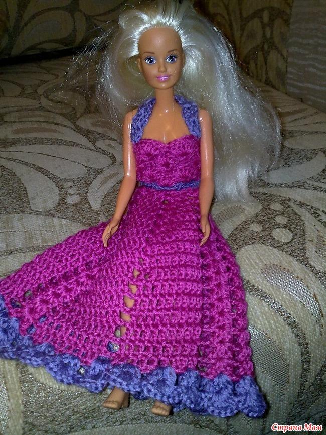 Вязание платьев на барби крючком 512