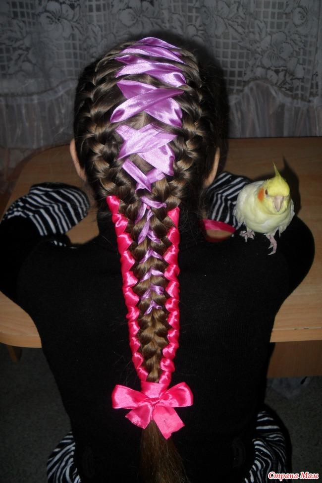 Прически с лентами в волосах для девочек на длинные волосы