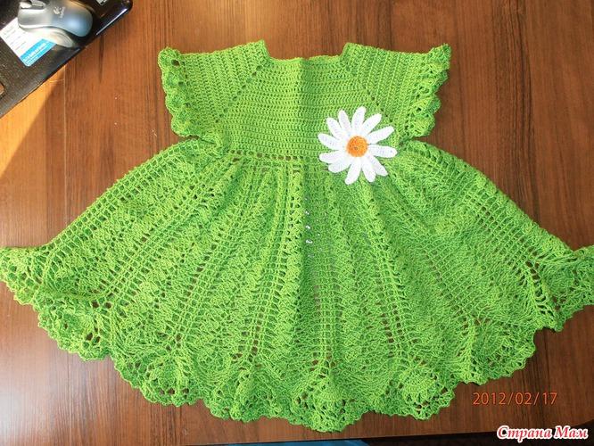 Платье связать крючком девочке 1 год