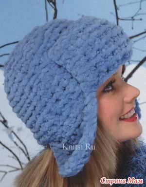 Вязание шапок ушанок со схемами