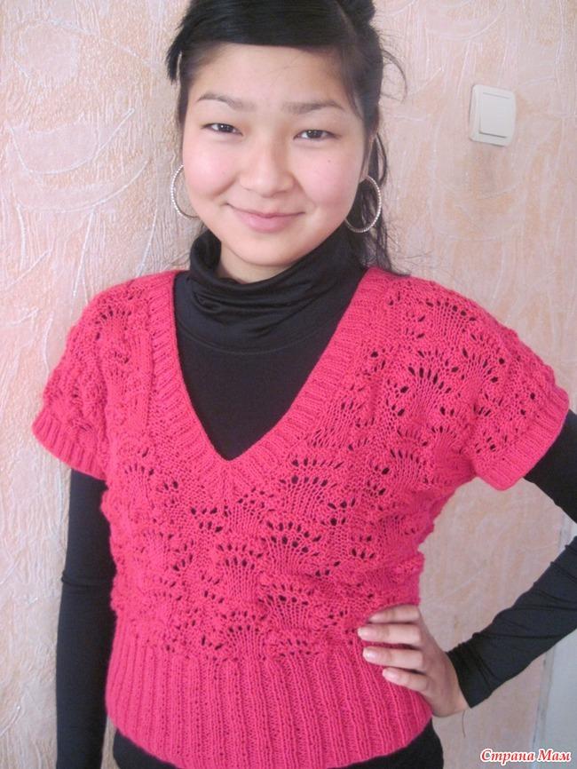 Вязание спицами безрукавок для девочки 243