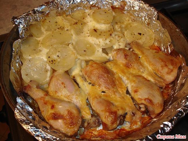 Рецепт куриных ножек с картошкой в духовке с майонезом и чесноком рецепт