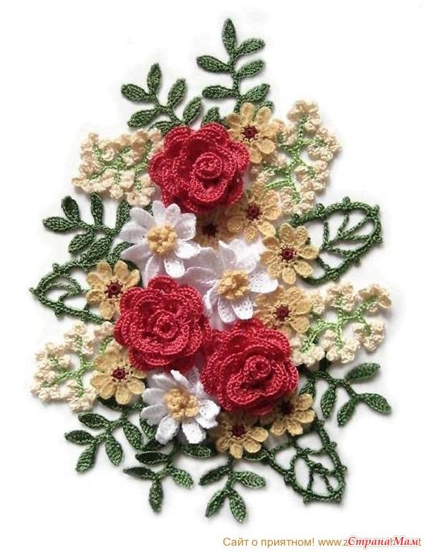 Вязание крючком букеты из цветов схемы
