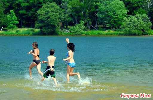 Дети и лето и озеро картинки