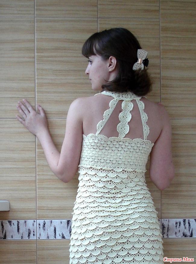Вязание платья чешуйки