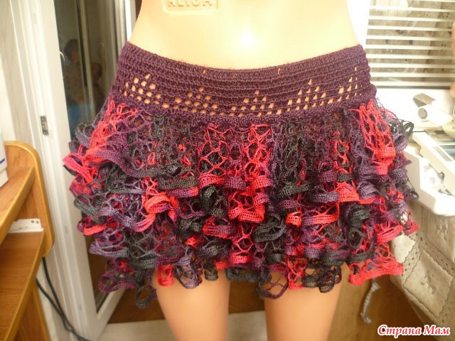 Вязание юбки с ленточной пряжи 177