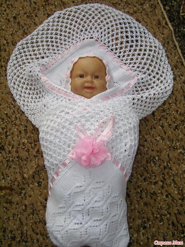 Вязаный плед своими руками для новорожденного на