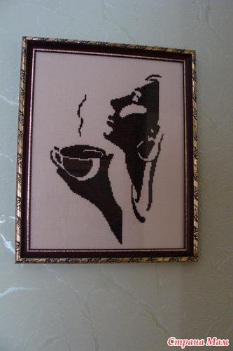 Вышивка девушка с кофе схема