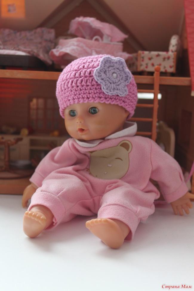 Мастер класс вязание шапочки на куклу 431