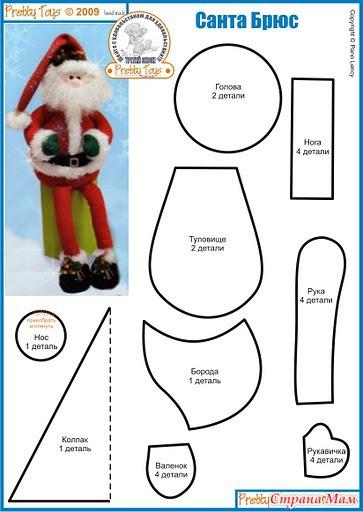 Выкройки игрушек дед мороз из ткани своими руками