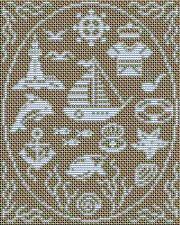 Вышивка морская монохром