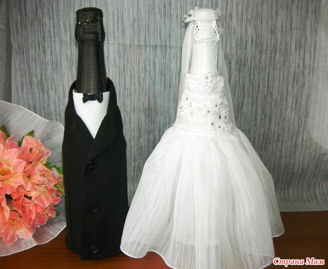 Украшения на свадебные бутылки своими руками