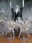 Бокалы на свадьбу канзаши своими руками 50