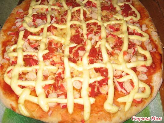 пицца с крабовыми палочками рецепт с фото