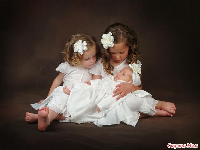 Три маленьких девочки - с детьми пикселей обои, картинки, фото.