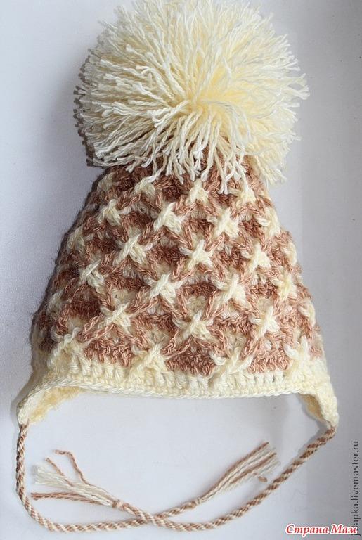 Вяжем теплую детскую шапку крючком