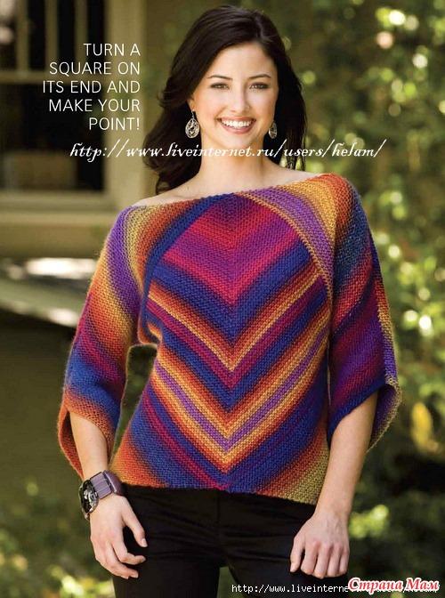 свитер спицами из пряжи ализе лана голд