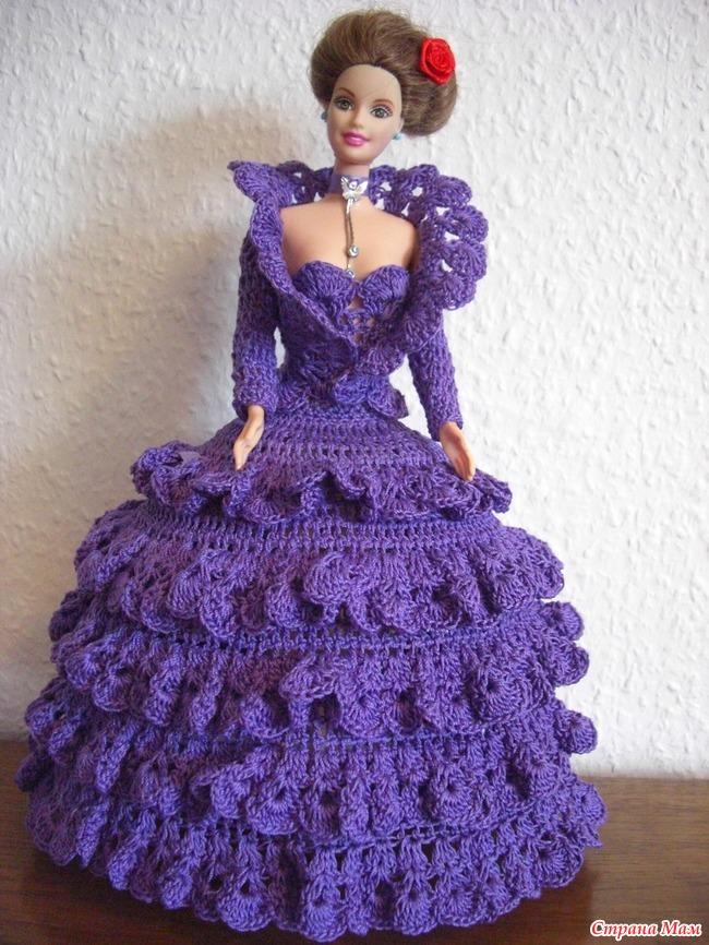 Вязание платьев на барби крючком 844