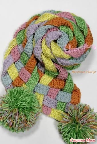 вязание спицами шарфа плетенка