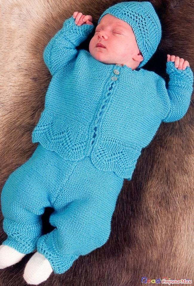 Вязание спицами для малышей костюмчик до года