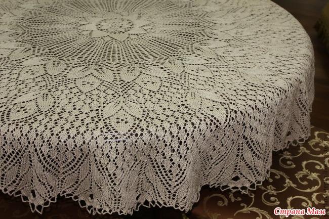 Вязание на спицах круглой скатерти
