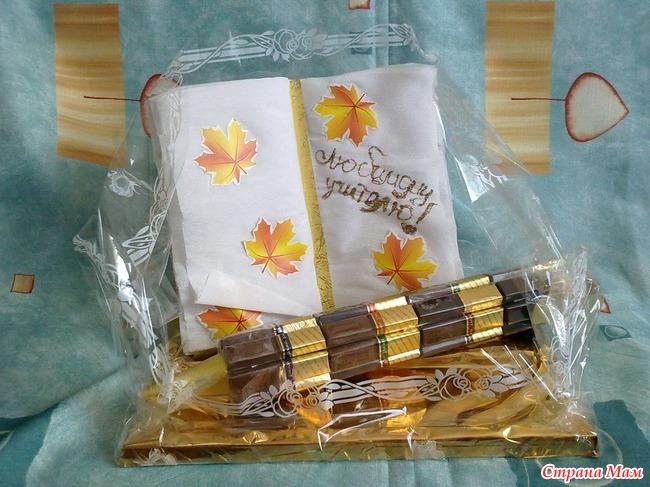 Подарки из конфет к дню учителя своими руками
