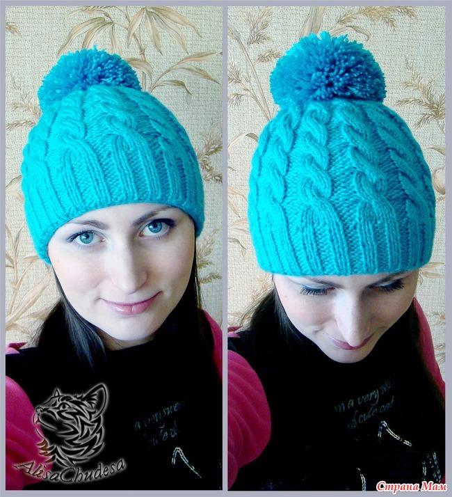 Вязание косами шапочки