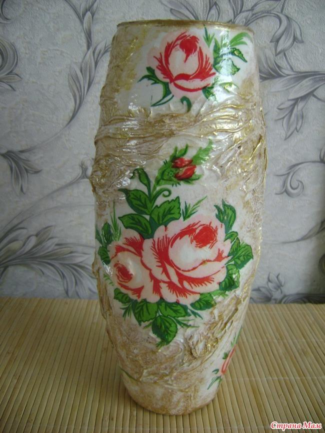 Декупаж ваз из салфеток