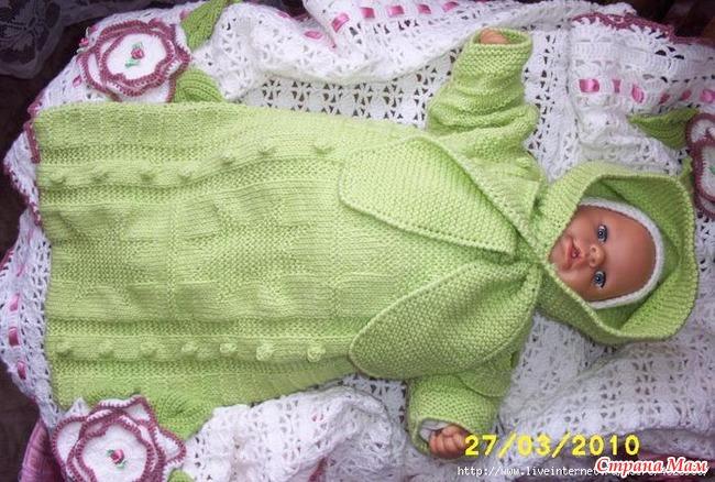 Конверт для новорожденного связать спицами