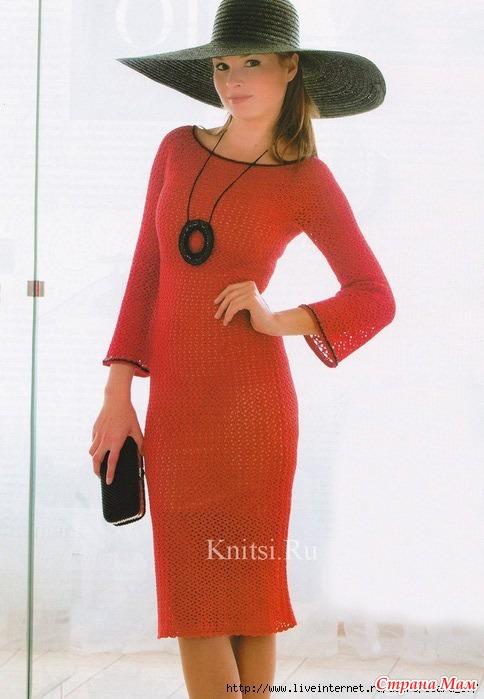 *Красное платье крючком