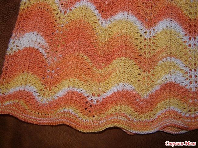 Вязание юбочки павлиний хвост спицами