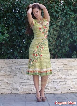 Вязаное платье украсить