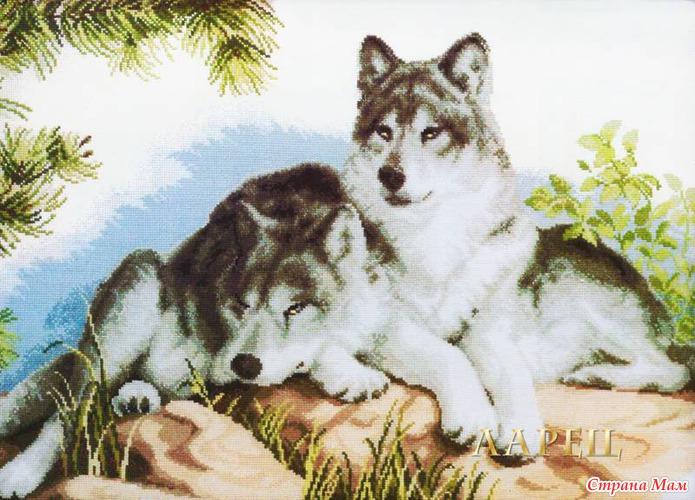 вышивки крестом волков