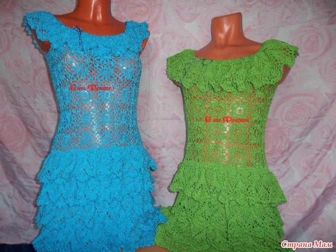 Вязание крючком платья с оборкой