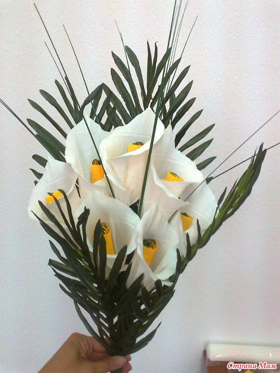 Как сделать цветы каллы из гофрированной бумаги 135