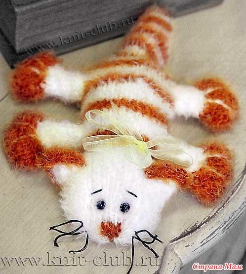 Кот - лентяй (вязание спицами)