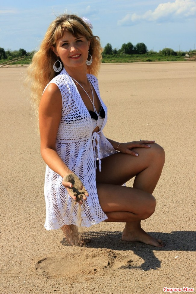 Связать крючком накидку на пляж