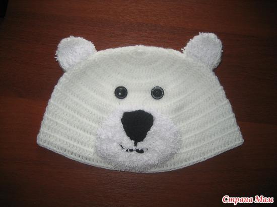 Шапка белый медведь