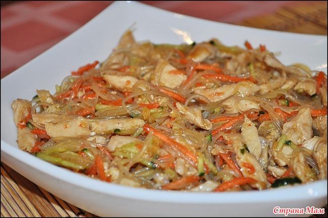 Фунчоза с курицей и овощами и соевым соусом рецепт с пошагово