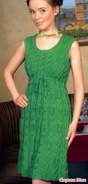 Схема вязания платья спицами: