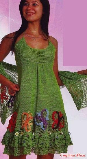 Схема вязания сарафана и шали