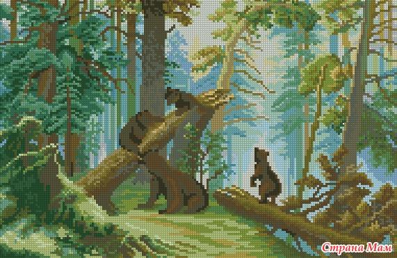 Медведи в сосновом бору вышивка