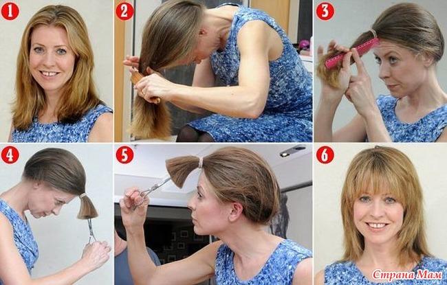Прическа в домашних условиях на среднюю длину волос с челкой