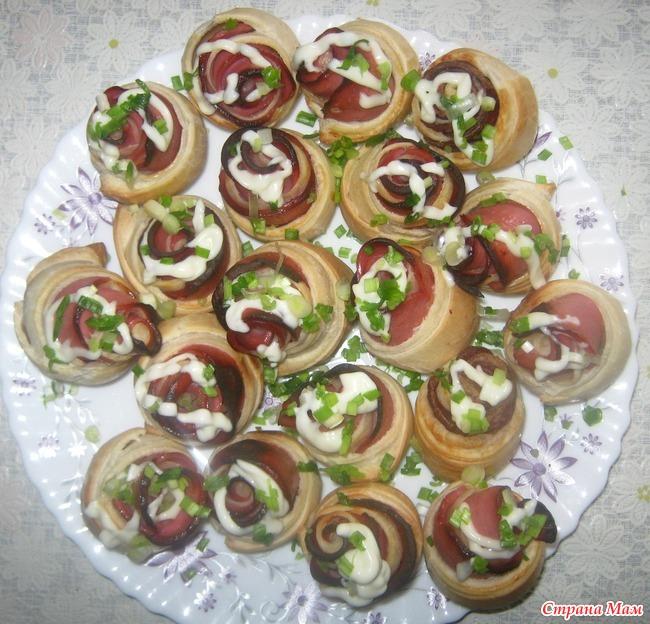 Розочки колбасой рецепт фото