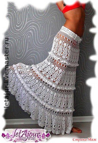Ажур для юбки крючком