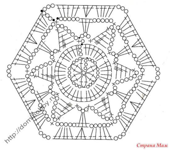 Вязание крючком шестигранных мотивов схемы